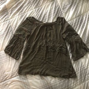 Umgee forest green off shoulder bell sleeve shirt